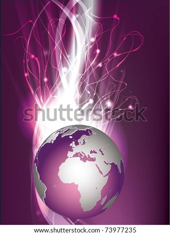 vector illustration with globe and patterns - stock vector