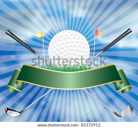 vector illustration with golf ball - stock vector
