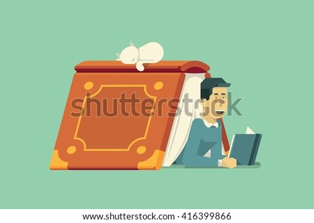 vector illustration with guy reading a book - stock vector