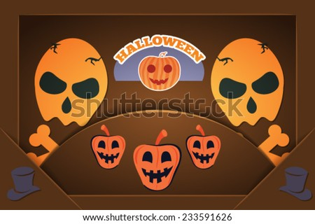 Vector illustration with halloween and halloween decoration