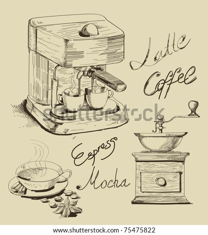 Vector illustration with hand drawn coffee - stock vector