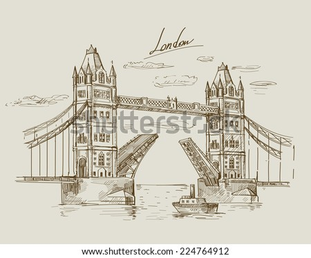 Vector illustration with hand drawn of Tower Bridge - stock vector