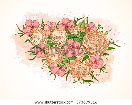 Vector illustration with hand drawn roses, flowers and leaves on a background with textured watercolor elements. In red and orange colors. Gradient used.