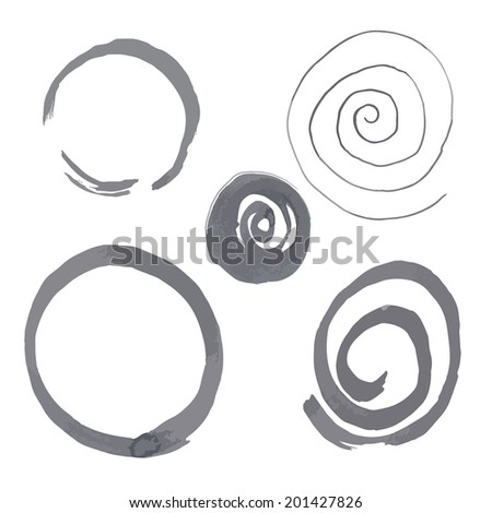 Vector illustration with ink circles. - stock vector