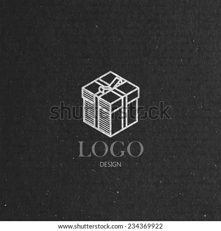 vector illustration with isometric gift box on cardboard texture. Logo design  - stock vector