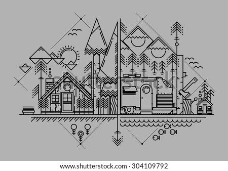 vector illustration with line style flat camping elements - stock vector
