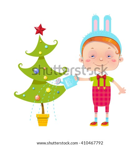 Vector illustration with little boy watering the Christmas tree.