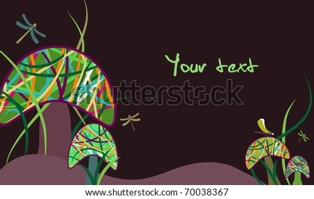 Vector illustration with Magic mushrooms and dragonfly - stock vector