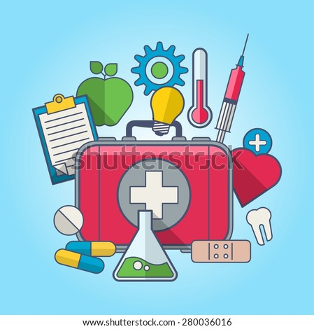 vector illustration with medical elements - stock vector