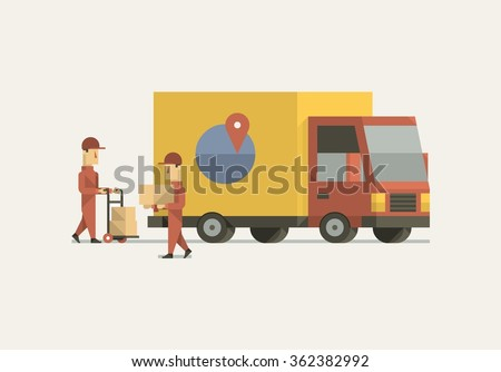 vector illustration with men loading boxes on a truck - stock vector