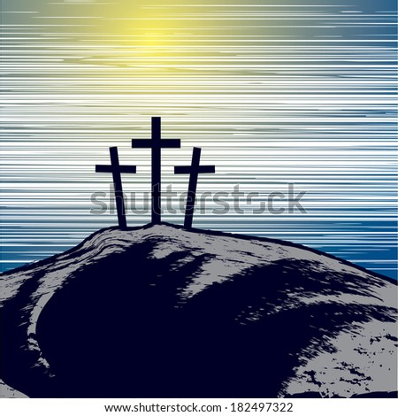 vector illustration with mountain with three crosses - stock vector