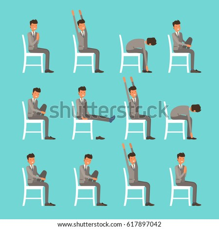 Vector Illustration With Office Chair Yoga Businessman Doing Sun Salutation Stretching Man In Suit