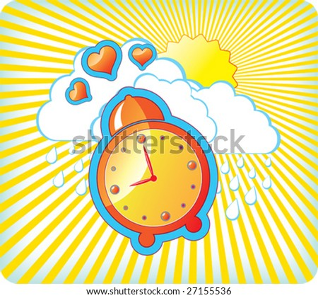 Vector illustration with orange alarm clock - stock vector