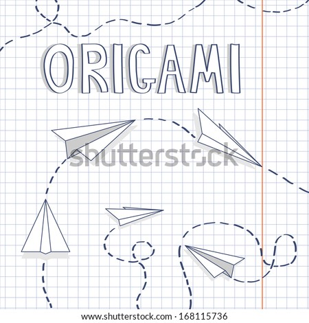 Vector illustration with paper airplanes - stock vector