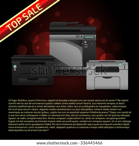 Vector illustration with printers on dark brown background. Advertise template with sample text. Print equipment top sale page. Banner design.  - stock vector