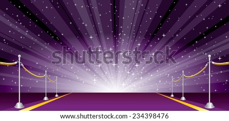 vector illustration with purple carpet and star burst - stock vector