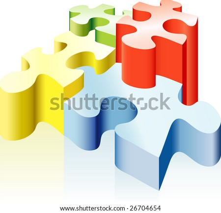 vector illustration with puzzles - stock vector