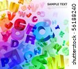 vector illustration with rainbow letters - stock vector