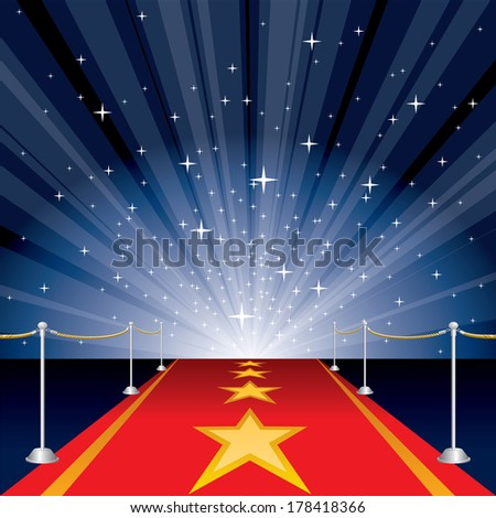 vector illustration with red carpet and stars - stock vector
