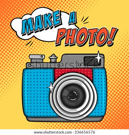 Vector illustration with retro photo camera. Comic background in pop art style - stock vector