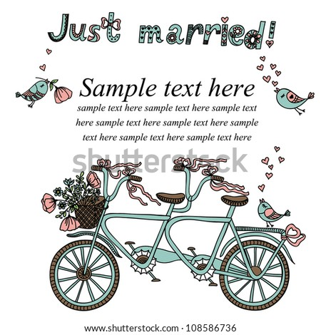 Vector illustration with retro tandem bicycle. - stock vector