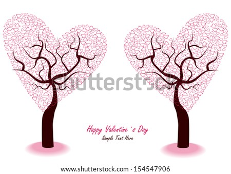 vector illustration with romantic valentine hearts trees