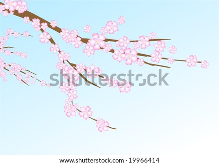 Vector illustration with sakura (cherry blossom) branch on the navy blue background