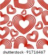 vector illustration with seamless pattern of different type heart shape in red color on white background with texture for Valentines Day. - stock vector