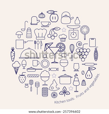 Vector illustration with set of isolated kitchenware, fruits and vegetables, contour design of kitchen tools, stuff for cooking - stock vector