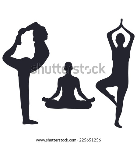 Vector illustration with silhouettes of people doing yoga - stock vector
