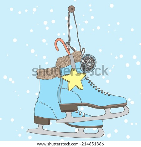Vector illustration with skates - stock vector