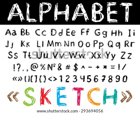 Vector illustration with sketch font: alphabet and numbers  - stock vector