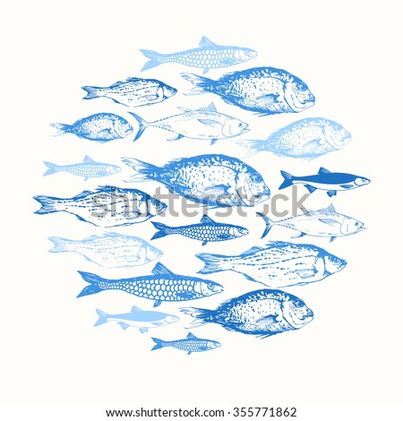 Vector illustration with sketches of fish. Round composition. Hand drawn fish. Blue design.