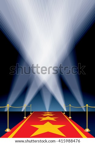 vector illustration with stars on red carpet - stock vector