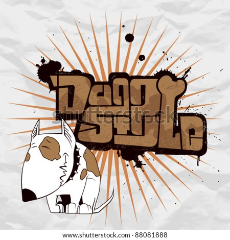 Vector illustration with text in graffiti-style and cartoon dog character. - stock vector