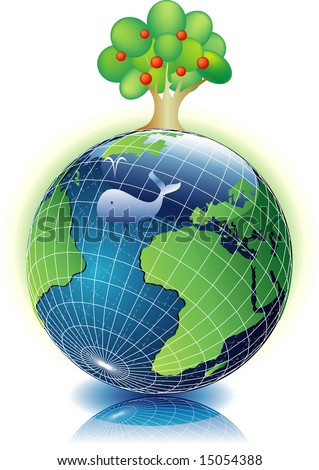 vector illustration with the Earth and tree - stock vector