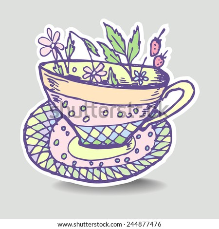 Vector illustration with the image of a cup of herbal tea, sticker, emblem, badge. - stock vector