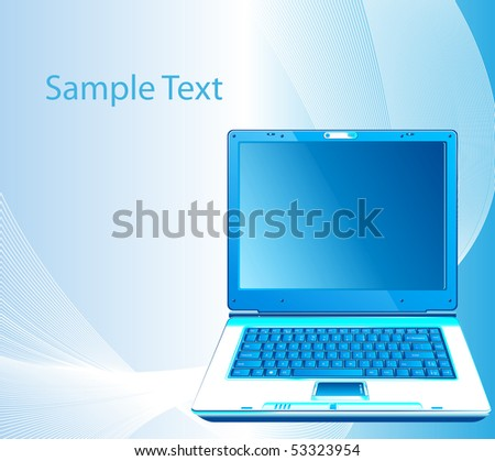 Vector illustration with the laptop. Business concept design
