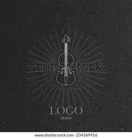 vector illustration with the violin on cardboard texture. music logo design  - stock vector