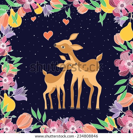 Vector illustration with two cute deers: mother and baby - stock vector