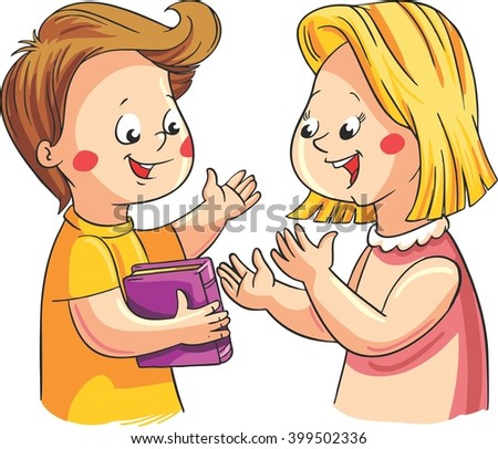 Vector illustration with two happy children talking