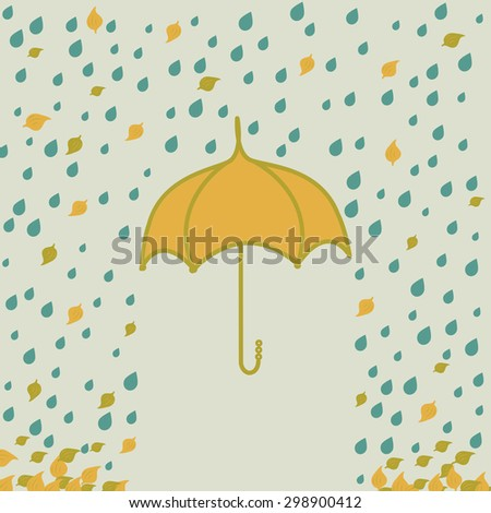 Vector illustration with umbrella under rain and leaf. Hand drawn.