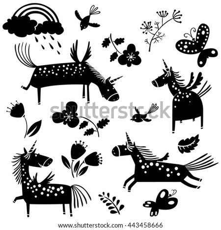 Vector illustration with unicorn silhouettes and flowers - stock vector
