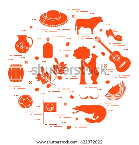 Vector Illustration Various Symbols Spain Arranged Stock Photo