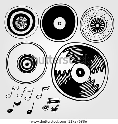Vector illustration with vinyl discs (record) - stock vector