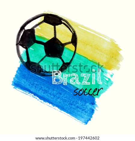 Vector illustration with watercolor ball dedicated to Brazil soccer championship - stock vector