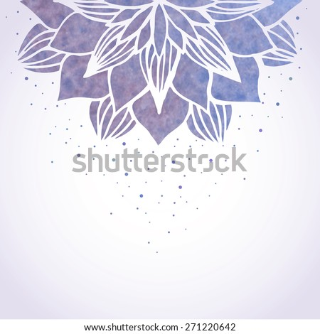 Vector illustration with watercolor blue violet flower pattern on white background. Floral ornament in oriental indian asian style. Vector element - stock vector