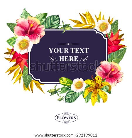 Vector illustration with watercolor flowers. Beautiful bouquet & sign with tropical flowers and plants on white background. Composition with yellow lily, chinese hibiscus and leaves. - stock vector
