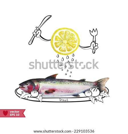 vector illustration with watercolor  lemon and trout - stock vector