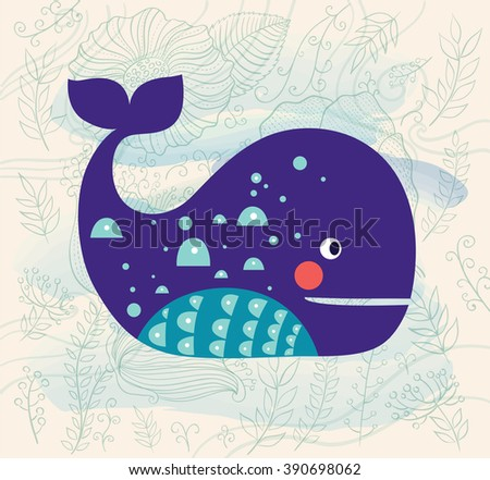 Vector illustration with whale and beautiful background with waves and flowers - stock vector